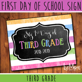 First Day of School Sign - 3rd Grade - Stripe/Chalkboard Back To School