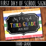 First Day of School Sign - 3rd Grade - Stripe/Chalkboard B