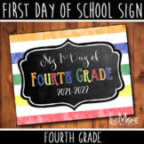 First Day of School Sign - 4th Grade - Stripe/Chalkboard B