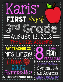 First Day of School Sign -  CUSTOMIZED OPTION