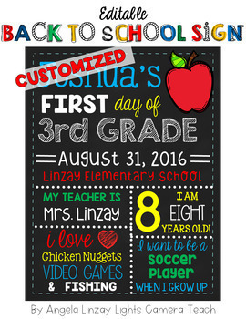 First OR Last Day of School Sign -  CUSTOMIZED OPTION