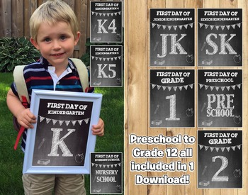 First Day of School Sign Chalkboard Back To School Sign Includes all Grades Prop