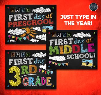 First Day of School Sign & Last Day of School Sign • Preschool - 12th Grade