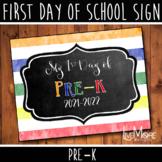First Day of School Sign - Pre-K - Stripe/Chalkboard Back