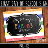 First Day of School Sign - Pre-K3 - Stripe/Chalkboard Back