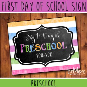 First Day of School Sign - Preschool - Stripe/Chalkboard Back To School