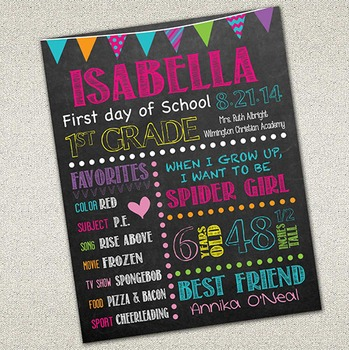 First Day of School Sign | Printable Chalkboard Poster | DIY Printable