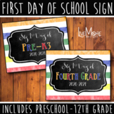 First Day of School Sign Stripe/Chalkboard Back To School