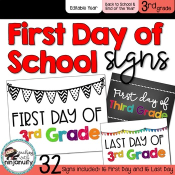 First Day of School Signs - 3rd Grade