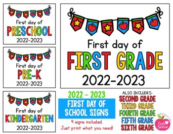 2018 - 2019 First Day of School Signs FREEBIE: Preschool, PreK, Kinder, 1st, 2nd