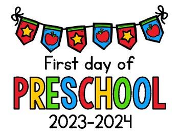 2018 - 2019 First Day of School Signs FREEBIE: Preschool, PreK, Kinder, 1st,  2nd