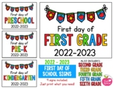 2019 - 2020 First Day of School Signs FREEBIE: Preschool, PreK, Kinder, 1st, 2nd