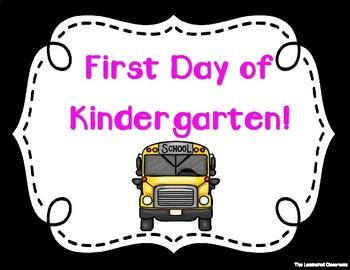 First Day of School Signs - Kindergarten (Black Background)
