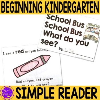 First Day of School Emergent Reader for Kindergarten