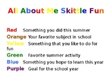 First Day of School- Skittle Activity