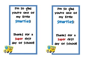 First Day of School Smarties