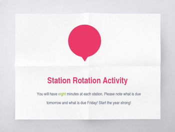 First Day of School Station Rotation Activity