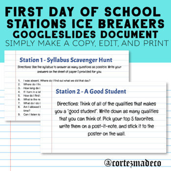 First Day of School Stations Activity Ice Breaker