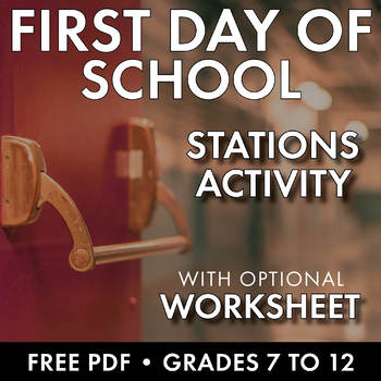 First Day of School Stations Activity, Icebreaker, Middle & High School, FREE