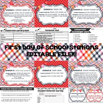 First Day of School Stations (Editable!)