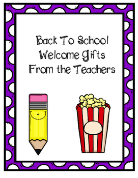 First Day of School Student Gifts From Teacher