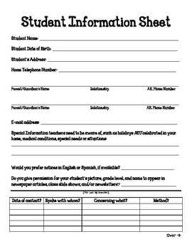 First Day of School Student Info Sheet