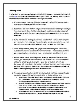 First Day of School- Student Information Form and Teaching Notes