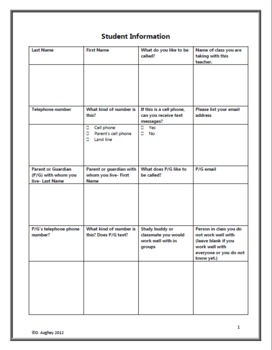 First Day of School- Student Information Form and Teaching Notes MS Word