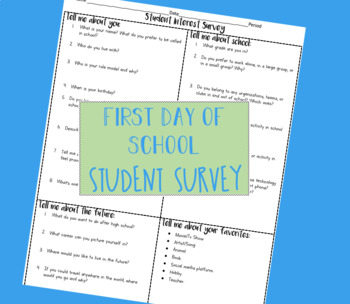 First Day of School Student Information Survey