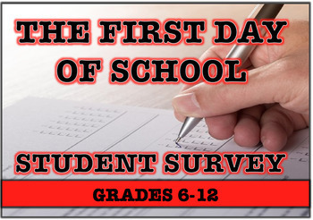 First Day of School - Student Interest Survey Packet