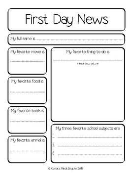 First Day of School ~ Student News ~ Morning Work