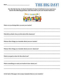 First Day of School Student Questionaire