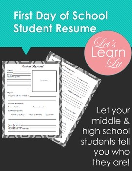 First Day of School Student Resume