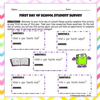 First Day of School Student Survey