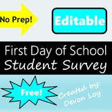 First Day of School Student Survey *Editable*