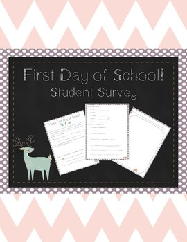 First Day of School Student Survey (Woodland Themed)