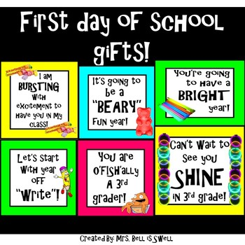 First Day of School Student Welcome Gift Tags!