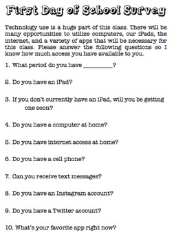 First Day of School Stuff & Technology Questionnaire
