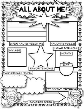 first day of school superhero all about me by house fly tpt. Black Bedroom Furniture Sets. Home Design Ideas