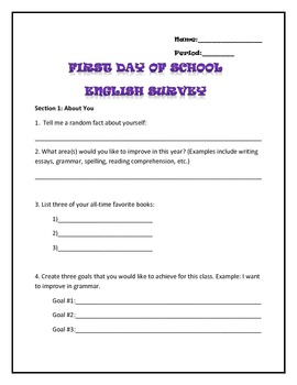 First Day of School Survey for High School English