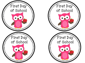 First Day of School Tags - Owl Theme