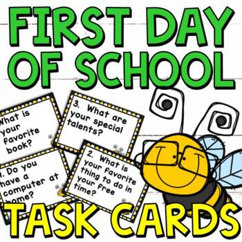 First Day of School Task Cards for Grades 2-5