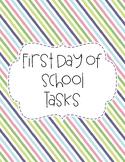 First Day of School Tasks