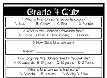First Day of School: Teacher Quiz