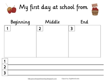 First Day of School Thematic Graphic Organizer/Journal Pages