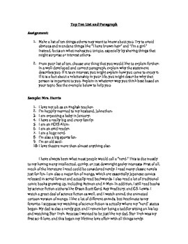 First Day of School Top Ten List and Paragraph