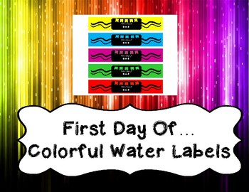 First Day of School Water Bottle Labels for grades Pre-K thru 5th Grade