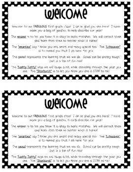 First Day of School Welcome Bag Letter