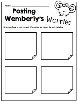 "First Day of School ""Wemberly Worried"" Feelings and Worries Activity"
