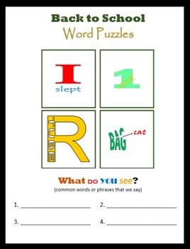 First Day of School:  Word Puzzles